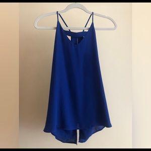 Blue tank, silk material